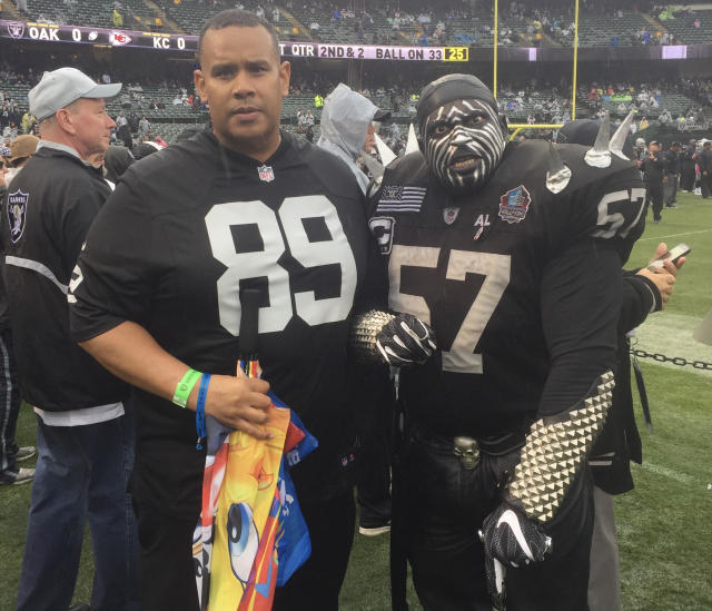 Ray Bobbitt (left), pictured with Raiders superfan Violator, is in a group lobbying for a team in Oakland. (Provided by Ray Bobbitt)