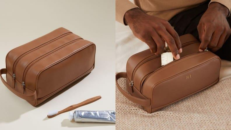 Best Graduation Gifts for Him: Monogrammed toiletry bag