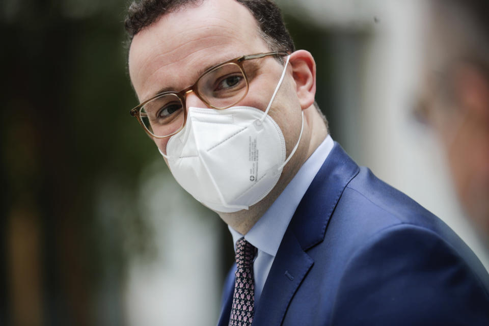 Germany's Health Minister Jens Spahn arrives for a news conference on the coronavirus disease (COVID-19) pandemic in Berlin, Germany March 26, 2021. (Hannibal Hanschke/Pool via AP)