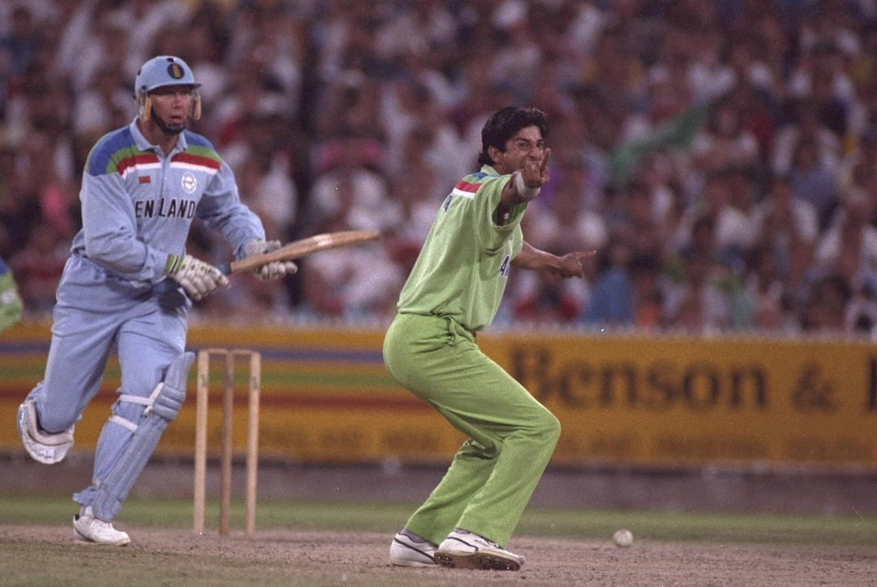 1992:  Wasim Akram of Pakistan appeals for the wicket of Derek Pringle of England during the final of the Cricket World Cup in Melbourne.