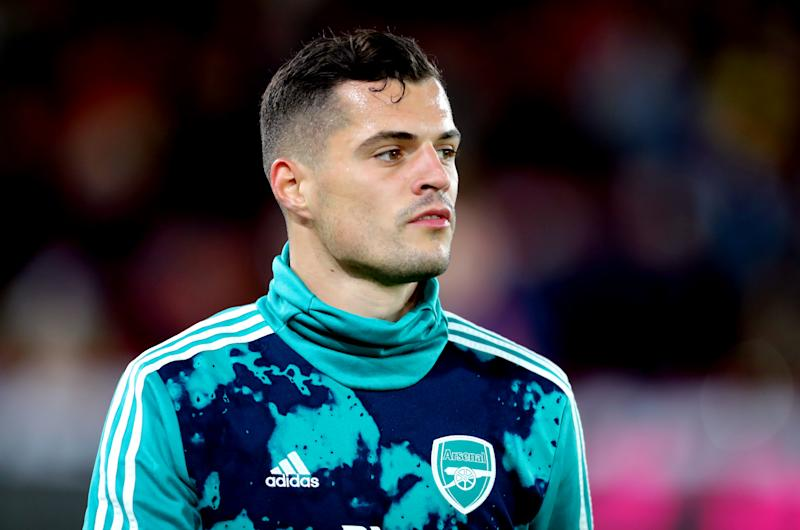 Arsenal's Granit Xhaka during the pre-match warm up prior to the beginning of the match Sheffield United v Arsenal - Premier League - Bramall Lane 21-10-2019 . (Photo by Richard Sellers/EMPICS/PA Images via Getty Images)