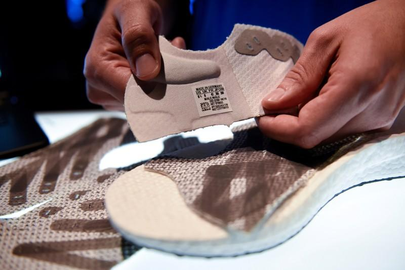FILE PHOTO: Parts of prototypes of Futurecraft 3D shoe are pictured during presentation of first Adidas shoe from its new manufacturing process, Speedfactory in Berlin