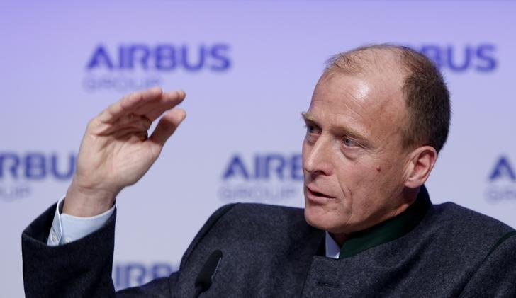 Enders, CEO of Airbus Group gestures during company's annual news conference in Munich
