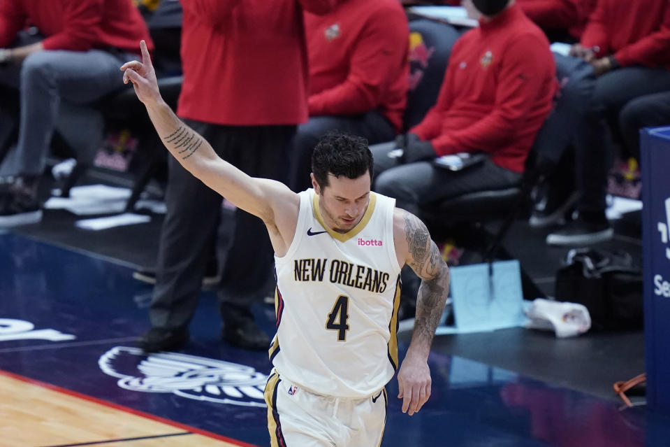 New Orleans Pelicans guard JJ Redick (4) reacts after making a three-point basket in the second half of an NBA basketball game against the Utah Jazz in New Orleans, Monday, March 1, 2021. (AP Photo/Gerald Herbert)
