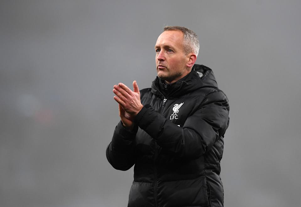 BIRMINGHAM, ENGLAND - DECEMBER 17: Neil Critchley, Manager of Liverpool applauds fans after the Carabao Cup Quarter Final match between Aston Villa and Liverpool FC at Villa Park on December 17, 2019 in Birmingham, England. (Photo by Shaun Botterill/Getty Images)