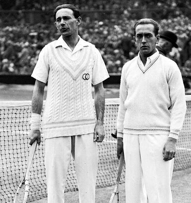 French tennis player Henri Cochet, right, beat fellow Frenchman Jean Borotra in the Men's Singles final match on the Centre Court, Wimbledon, London, on July 5, 1927. Cochet won the match 4-6, 4-6, 6-3, 6-3, 7-5. (AP Photo)