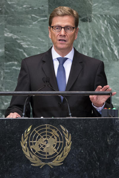German Foreign Minister Guido Westerwelle addresses the 67th United Nations General Assembly, at U.N. headquarters, Friday, Sept. 28, 2012. (AP Photo/John Minchillo)