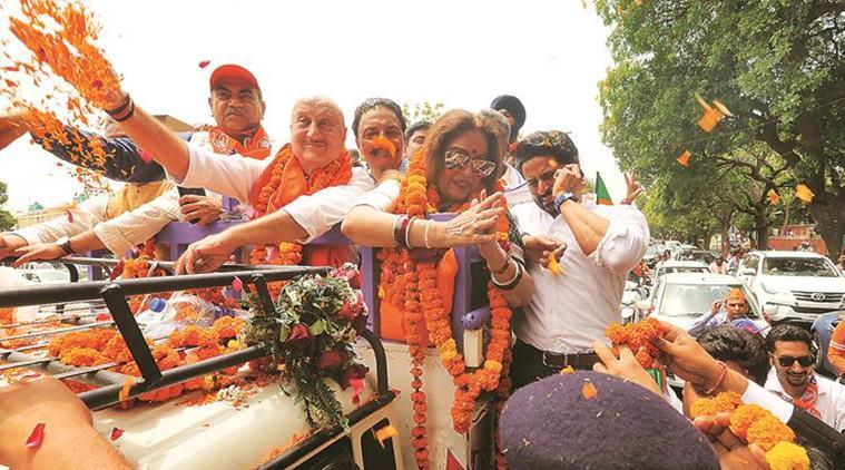 Kirron Kher files nomination from Chandigarh amid a show of strength