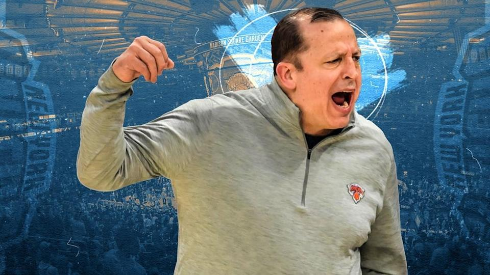 Tom Thibodeau treated image, yelling in grey Knicks pullover