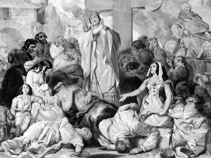 People praying for relief from the plague, circa 1350.