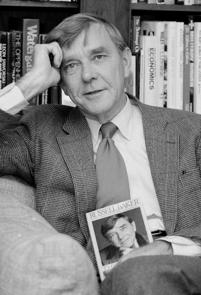 """Russell Baker, a Pulitzer Prize-winning journalist, essayist and biographer who hosted the series """"Masterpiece Theatre"""" on PBS and had a long-running column in The New York Times, died on Jan. 21, 2019. He was 93."""