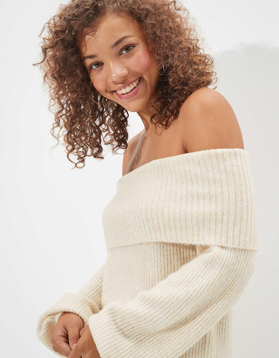 <p>This <span>AE Off-The-Shoulder Sweater Dress</span> ($41, originally $55) is adorable.</p>
