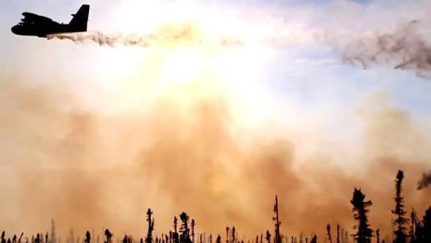 A waterbomber flies over a wildfire in the La Ronge area earlier in July.  (Don Somers/CBC - image credit)