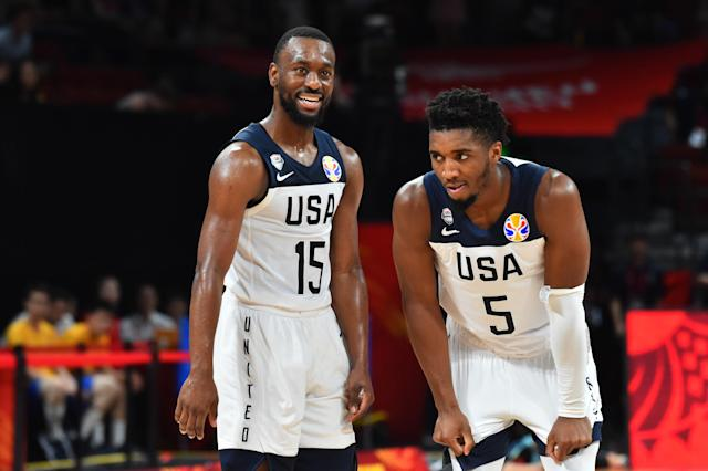 SHENZHEN, CHINA - SEPTEMBER 9: Kemba Walker #15 of Team USA and Donovan Mitchell #5 of Team USA shares a laugh during the game against Team Brazil during the FIBA World Cup on September 9, 2019 at the Shenzhen Bay Sports Center in Shenzhen, China. (Photo by Jesse D. Garrabrant/NBAE via Getty Images)