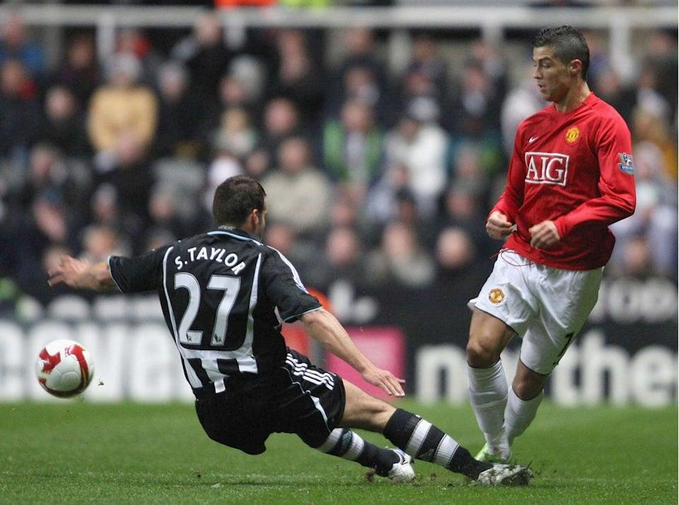 Cristiano Ronaldo during a previous encounter with Newcastle in a Manchester United shirt (Manchester United via Getty Imag)