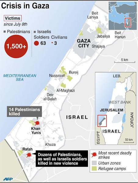 Map illustrating the conflict in Gaza