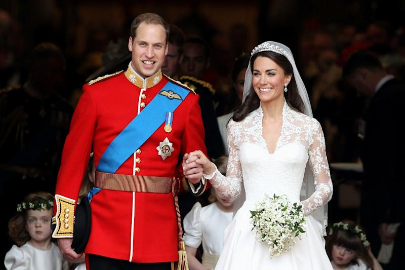 8ee116075645f H&M Is Selling a $300 Dupe of Kate Middleton's Alexander McQueen Wedding  Dress