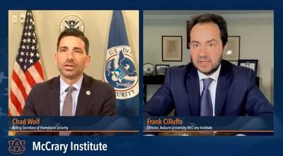 Acting Secretary of Homeland Security Chris Wolf participated in a virtual event Thursday with Frank Cilluffo, director of Auburn University's McCrary Institute, during which Wolf discussed the department's focus on economic security and COVID-19.