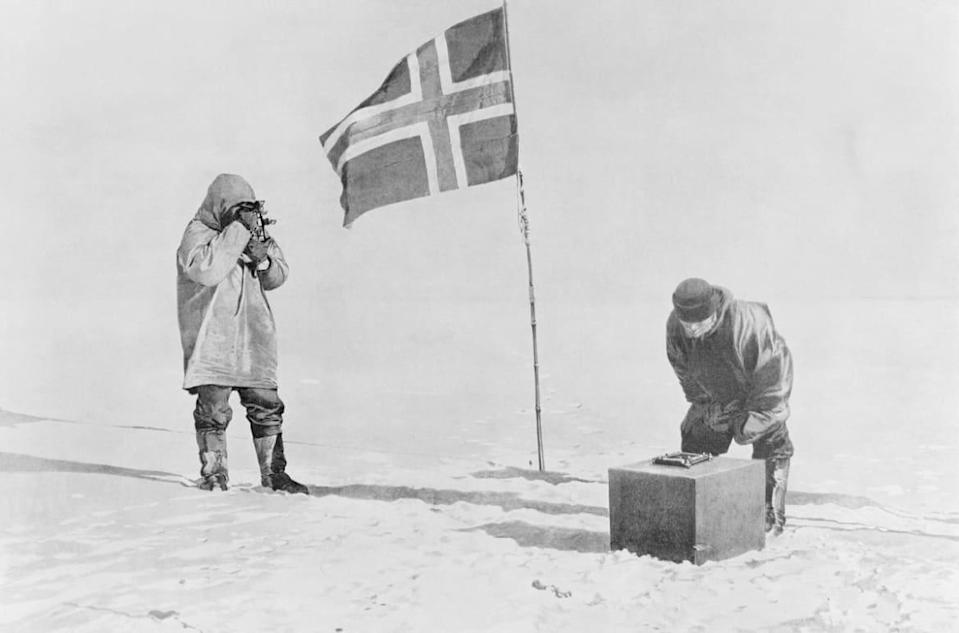 """<div class=""""inline-image__caption""""><p>Amundsen Expedition: Proving themselves at the South Pole by use of sextant and artificial horizon. Captain Roald Amundsen discovered South Pole on December 14-17, 1911.</p></div> <div class=""""inline-image__credit"""">Getty</div>"""