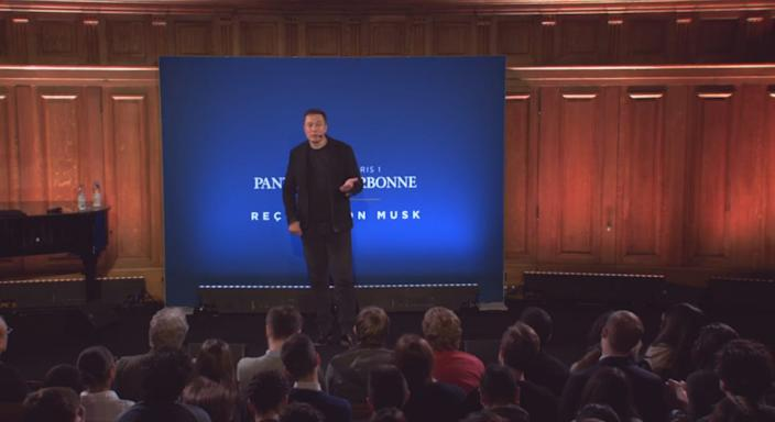 Elon Musk speaks at the Université de Paris Panthéon Sorbonne in Paris, France, in 2015.