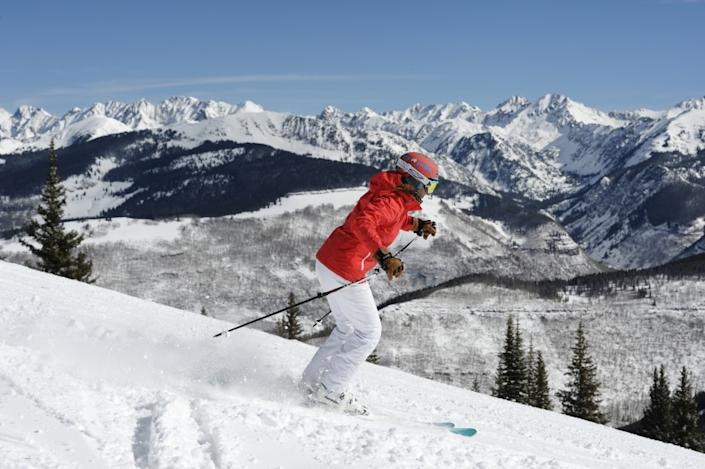 "A skier makes tracks down a run near the Blue Sky Basin Overlook at the Vail Resort. <span class=""copyright"">(Chris Dillmann / Vail Daily)</span>"