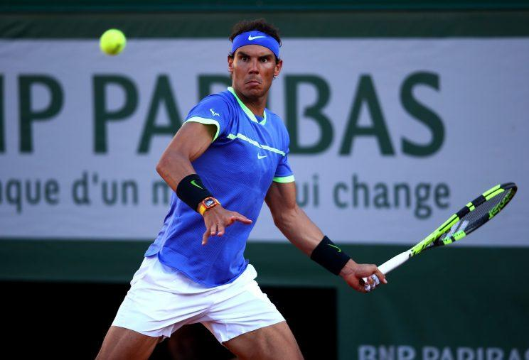 Rafael Nadal hits a forehand against Dominic Thiem in the men's semifinals of the French Open. (Getty Images)