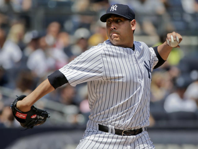 New York Yankees pitcher Vidal Nuno delivers against the Baltimore Orioles in the third inning of a baseball game, Saturday, June 21, 2014, in New York. (AP Photo/Julie Jacobson)