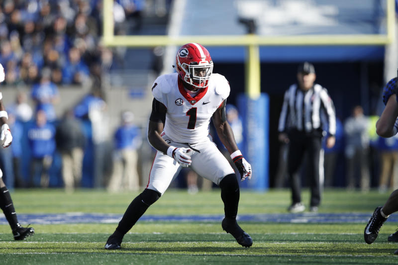 LEXINGTON, KY - NOVEMBER 03: Brenton Cox #1 of the Georgia Bulldogs in action during the game against the Kentucky Wildcats at Kroger Field on November 3, 2018 in Lexington, Kentucky. Georgia won 34-17. (Photo by Joe Robbins/Getty Images)
