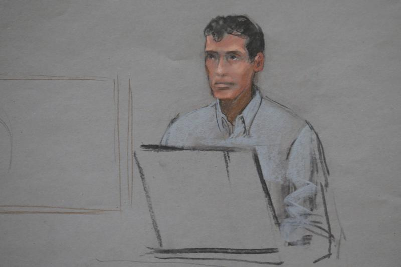 REFILE - CORRECTING TYPO IN LAST NAME A courtroom sketch shows Marathon Sports manager Shane O'Hara testifying in the trial of accused Boston Marathon bomber Dzhokhar Tsarnaev at the federal courthouse in Boston, Massachusetts March 4, 2015.     REUTERS/Jane Flavell Collins    (UNITED STATES - Tags: CRIME LAW)