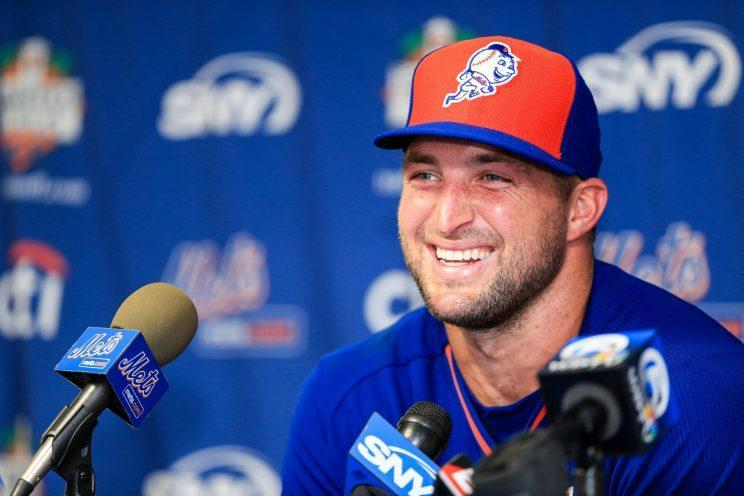 Tim Tebow is already the talk of Mets camp. (Getty Images/Rob Foldy)