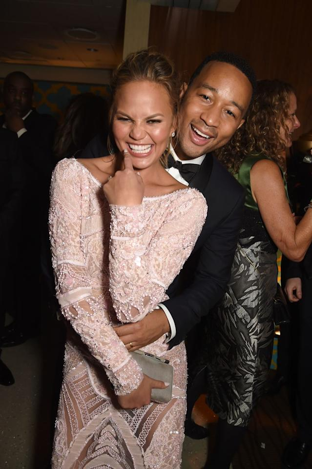 """<p><a href=""""https://www.elle.com/uk/life-and-culture/g29620709/chrissy-teigen-john-legend-wife-relationship/"""" target=""""_blank"""">Fan favourite couple, Teigen and Legend,</a> met in 2007 on the set of his music video and married in 2013. They now have a daughter called Luna and a son called Miles.</p>"""