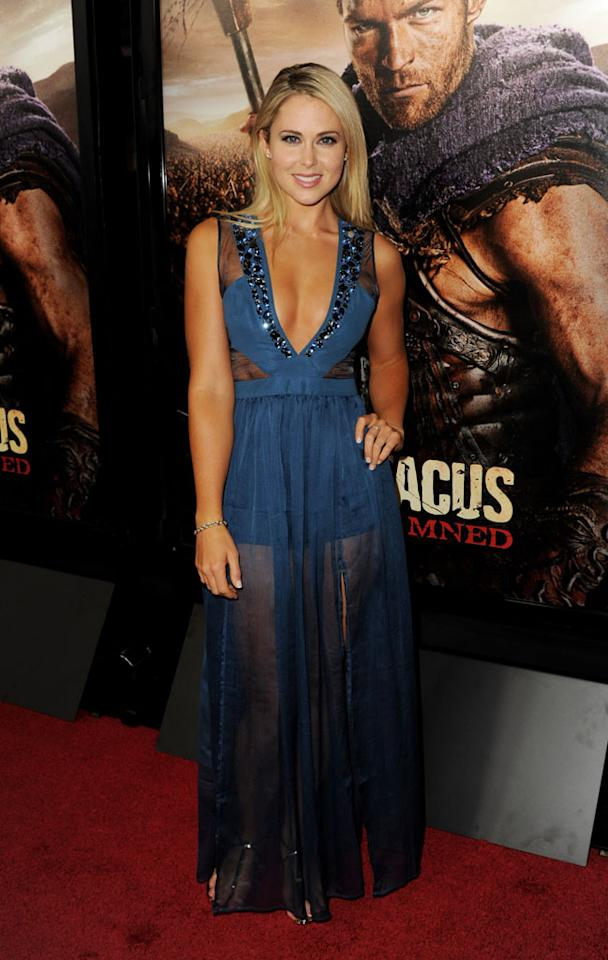 """Anna Hutchison attends the premiere of Starz's """"Spartacus: War of the Damned"""" at Regal Cinemas L.A. Live on January 22, 2013 in Los Angeles, California."""