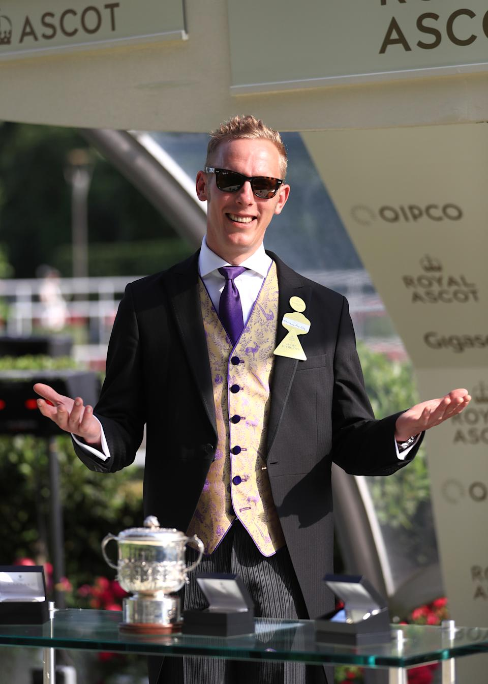 Laurence Fox during the presentation for the Windsor Castle Stakes during day one of Royal Ascot at Ascot Racecourse.
