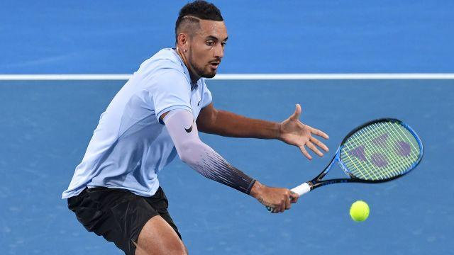 Kyrgios was frequently charging the net. Image: Getty