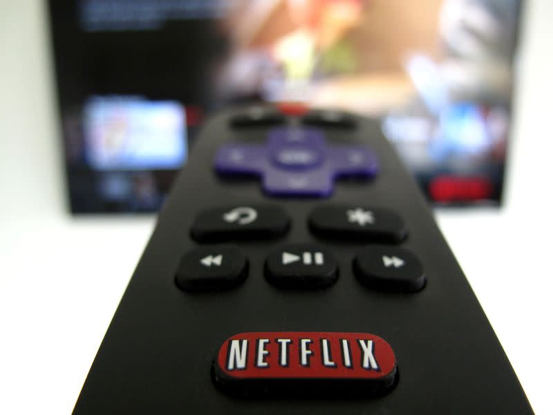 FILE PHOTO: The Netflix logo is pictured on a television remote in this illustration photograph taken in Encinitas, California