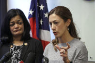 Rep. Pramila Jayapal, D-Wash., left, looks on as Negah Hekmati speaks about her hours-long delay returning to the U.S. from Canada with her family days earlier, at a news conference Monday, Jan. 6, 2020, in Seattle. Civil rights groups and lawmakers were demanding information from federal officials following reports that dozens of Iranian-Americans were held up and questioned at the border as they returned to the United States from Canada over the weekend. In a statement Sunday, the Washington state chapter of the Council on American-Islamic Relations said more than 60 Iranians and Iranian-Americans were detained and questioned at the Peace Arch Border Crossing in Blaine, Washington. (AP Photo/Elaine Thompson)