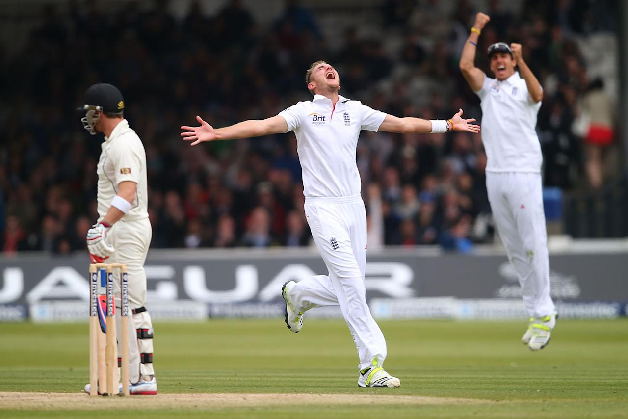 LONDON, ENGLAND - MAY 19: Stuart Broad of England celebrates the wicket of Brendon McCullum of New Zealand during day four of 1st Investec Test match between England and New Zealand at Lord's Cricket Ground on May 19, 2013 in London, England. (Photo by Clive Rose/Getty Images)