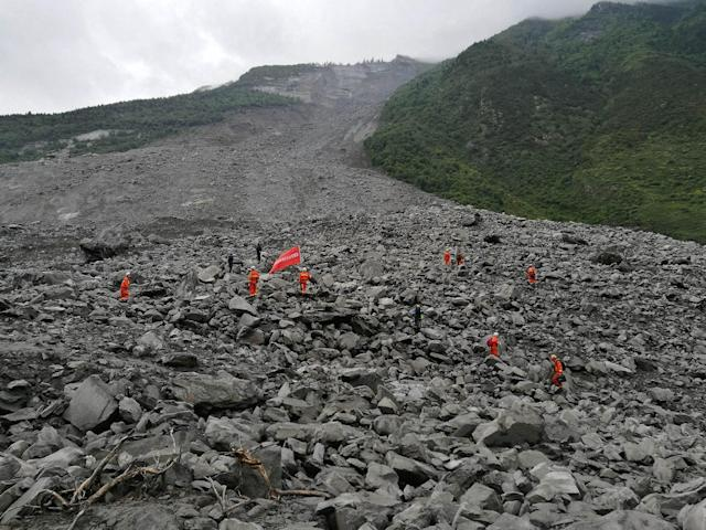 <p>General view of the accident site after a landslide at Xinmo Village of Maoxian County on June 24, 2017 in Tibetan and Qiang Autonomous Prefecture, Sichuan Province of China. (Photo: Zhong Xin/China News Service/VCG via Getty Images) </p>