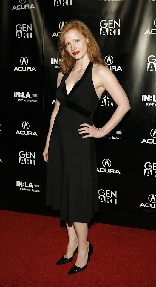 <p>Attending a fashion week party in LA, Chastain looked cool and casual in a halter-neck black dress.</p>