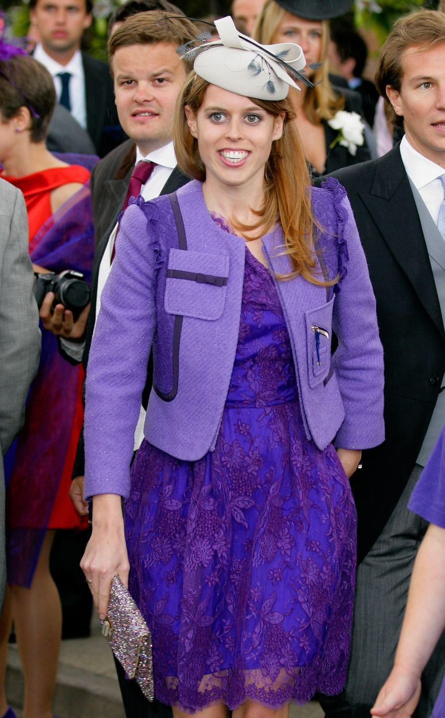 <p>Purple is Princess Beatrice's go-to wedding guest color. Not only did she wear it to her sister Princess Eugenie's wedding, she also chose it for the wedding of Sam Waley-Cohen and Annabel Ballin in 2011.</p>
