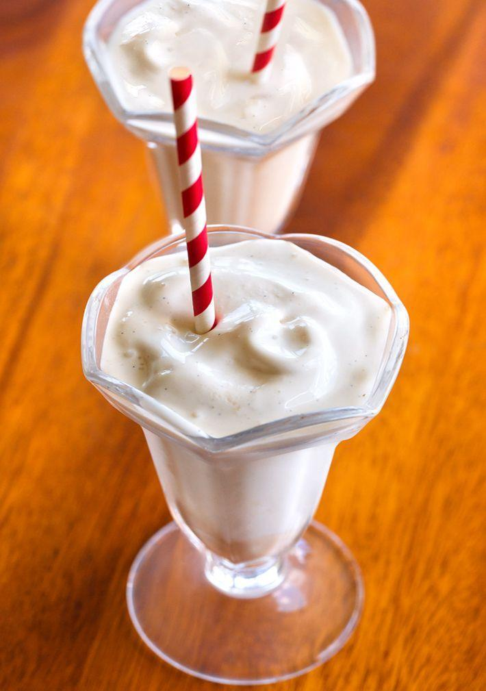 """<p>If you're a sucker for a Wendy's frosty, you can enjoy *this* rendition from the comfort of your home. It contains vanilla extract, silken tofu, your milk of choice and more, all of which blend together for a sweet vanilla taste. Oh, and it won't throw you off track from your weight-loss goals.</p><p><em>Per serving: 84 cals, 4.3 g fat, 3.3 g carbs, 1.3 g sugar, .1 g fiber, 8 g protein</em></p><p><a class=""""link rapid-noclick-resp"""" href=""""https://chocolatecoveredkatie.com/nutrition-protein-frosty/"""" rel=""""nofollow noopener"""" target=""""_blank"""" data-ylk=""""slk:Get the recipe"""">Get the recipe</a></p>"""