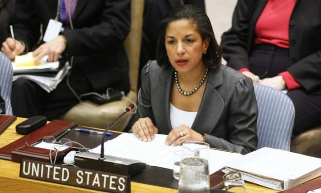 Rice addresses the U.N. Security Council prior to voting on a resolution condemning Israeli settlement activity in February 2011.