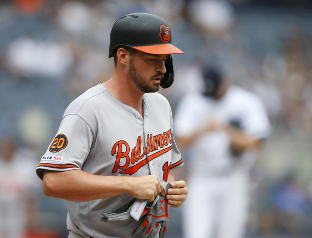 "<a class=""link rapid-noclick-resp"" href=""/mlb/players/10157/"" data-ylk=""slk:Trey Mancini"">Trey Mancini</a> and the Orioles finished 2-17 against the <a class=""link rapid-noclick-resp"" href=""/mlb/teams/ny-yankees/"" data-ylk=""slk:Yankees"">Yankees</a> in 2019 after losing again on Wednesday. (Noah K. Murray-USA TODAY Sports)"