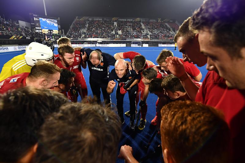Kerry gives the team a talk after their win during the Men's Hockey World Cup Cross-over match between England and New Zealand in December 2018 in India. (Photo by Charles McQuillan/Getty Images for FIH)
