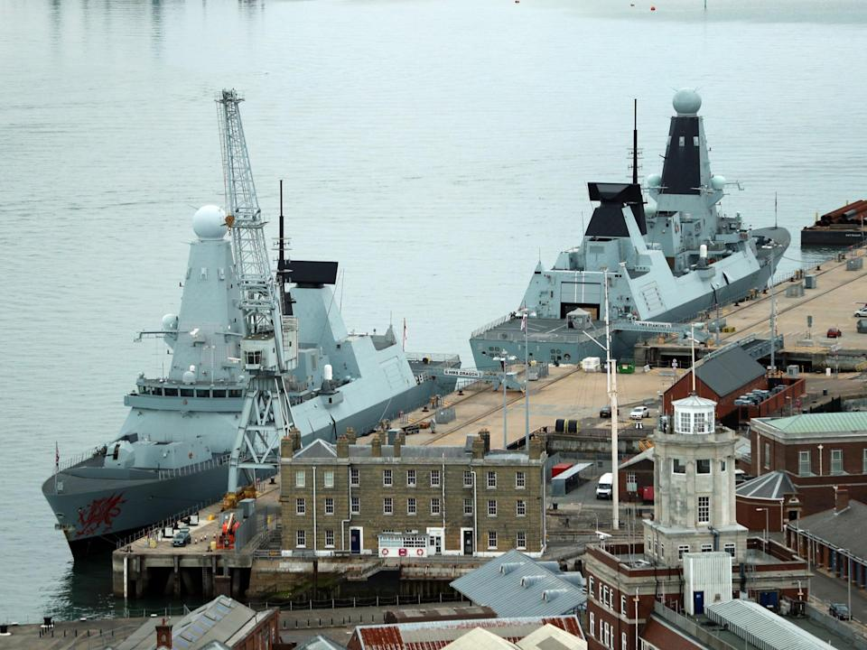 Type 45 destroyers HMS Dragon (left) and HMS Diamond docked in Portsmouth: PA
