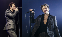 """<p>Harry's so well known for his love of Gucci that he <a href=""""https://fashionista.com/2018/03/harry-styles-gucci-campaign"""" rel=""""nofollow noopener"""" target=""""_blank"""" data-ylk=""""slk:landed"""" class=""""link rapid-noclick-resp"""">landed</a> an ad campaign with the label, but this sparkly little number is custom Saint Laurent. He wore it while performing in Paris during the European leg of his solo tour, and it matches his twinkly eyes perfectly if you ask me.</p>"""