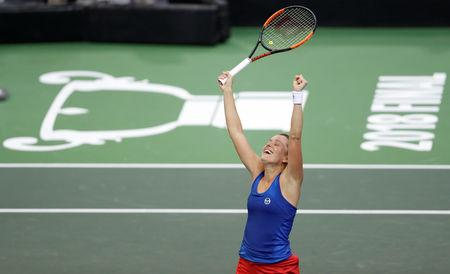 Strycova gives Czechs early lead in Fed Cup final
