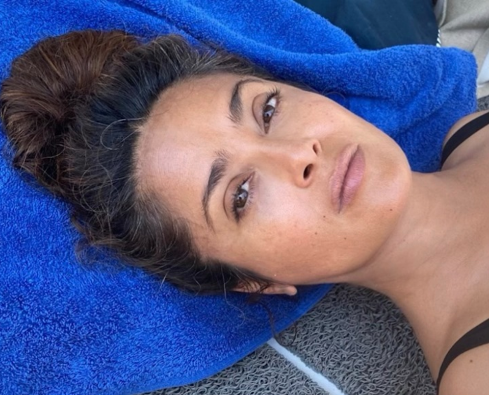 """We're extremely here for the energy Salma Hayek's been putting on Instagram. The actor was all about her gray hair on September 24, referring to them as """"wisdom"""" in the caption of a makeup-free selfie. """"The white hair of wisdom. Las canas de la sabiduría. Les cheveux blancs de la sagesse,"""" <a href=""""https://www.instagram.com/p/CFefv3pHT-J/?utm_source=ig_embed"""" rel=""""nofollow noopener"""" target=""""_blank"""" data-ylk=""""slk:she wrote"""" class=""""link rapid-noclick-resp"""">she wrote</a> with the hashtags #whitehair and #hairspiration."""