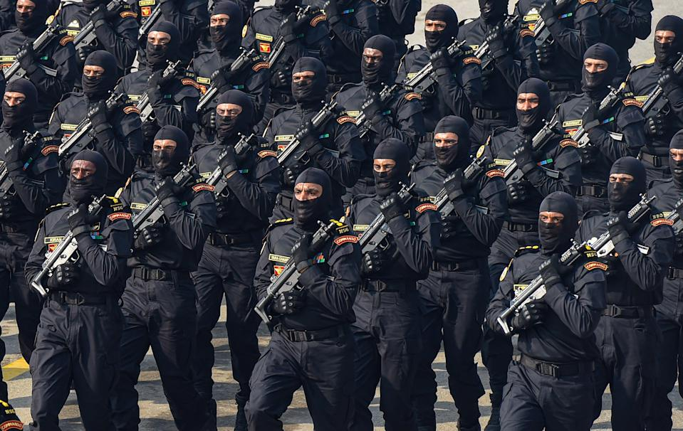 New Delhi: National Security Guard (NSG) commandoes participate in a parade at Rajpath, during the 72nd Republic Day celebrations, in New Delhi, Tuesday, Jan. 26, 2021.