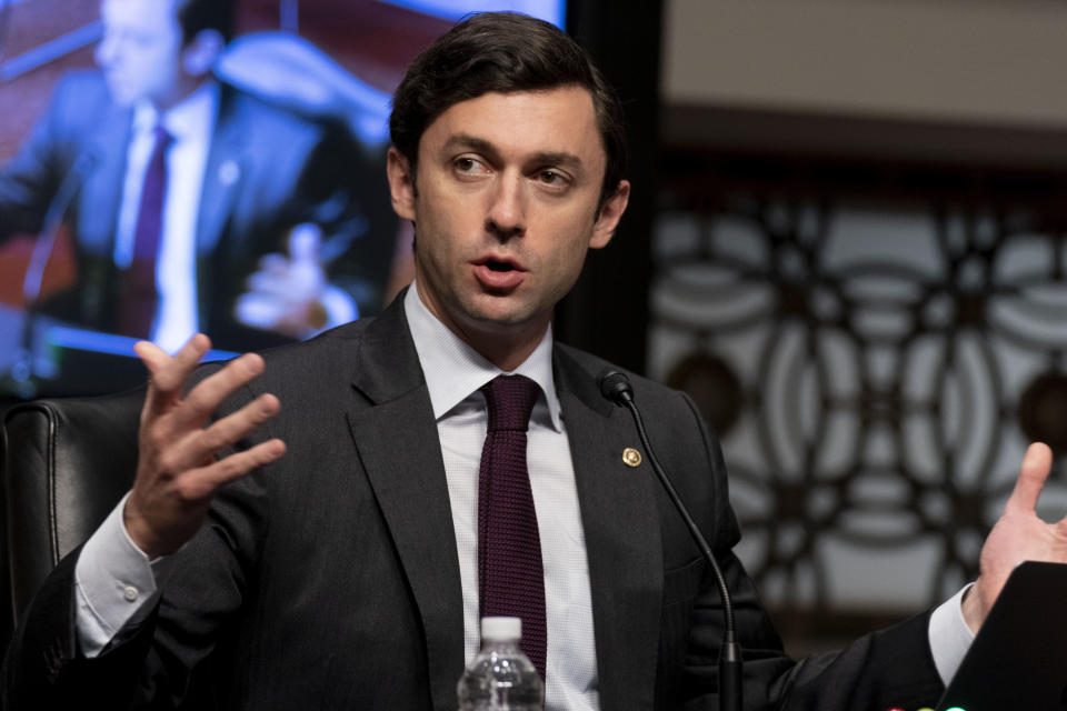 Sen. Jon Ossoff, D-Ga., speaks at a joint hearing on Capitol Hill, Washington, Tuesday, Feb. 23, 2021. Ossoff joined fellow Democratic senators Raphael Warnock of Georgia and Tammy Baldwin of Wisconsin in introducing a bill on Monday, July 12, 2021, to require the federal government to set up a Medicaid-like health plan in states that have not expanded Medicaid plans to cover more low-income adults. (AP Photo/Andrew Harnik, Pool)